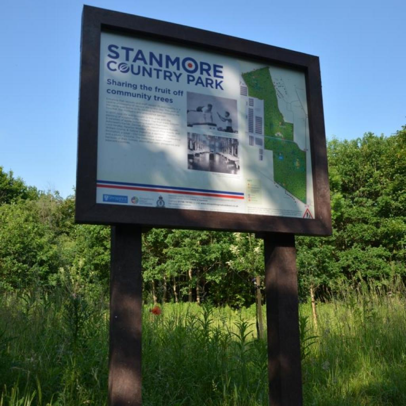 Appealing recycled plastic interpretation signs for Stanmore Country Park